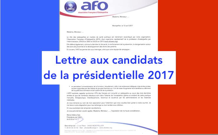 AFO Courrier présidentiables 2017